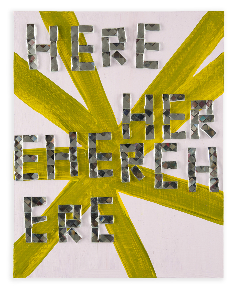 Here , 2014, acrylic and glass tile on wood, 14 x 11 in