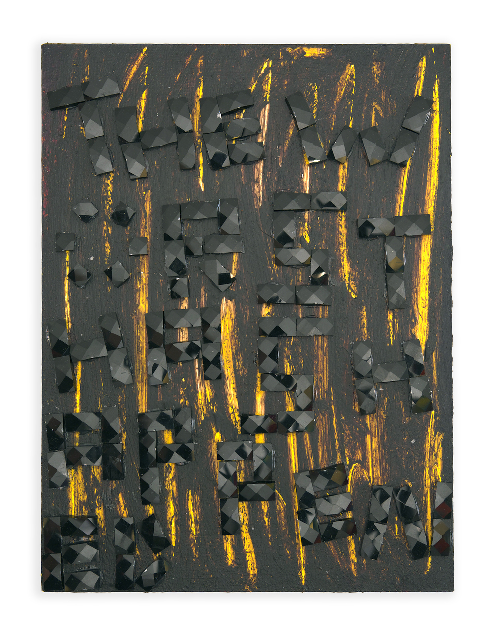 Uh Oh , 2014, acrylic and glass tile on wood, 12 x 9 in
