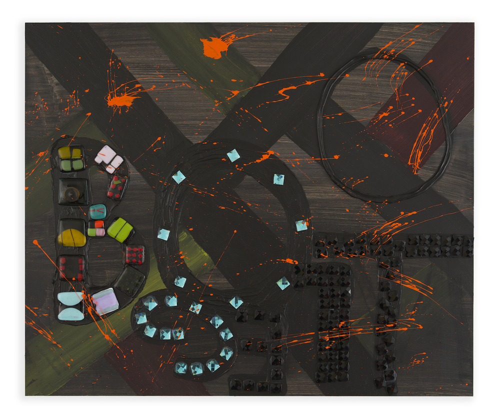 Bootleg , 2014, Acrylic, fused glass, and Glass tile on wood, 36 x 40 in