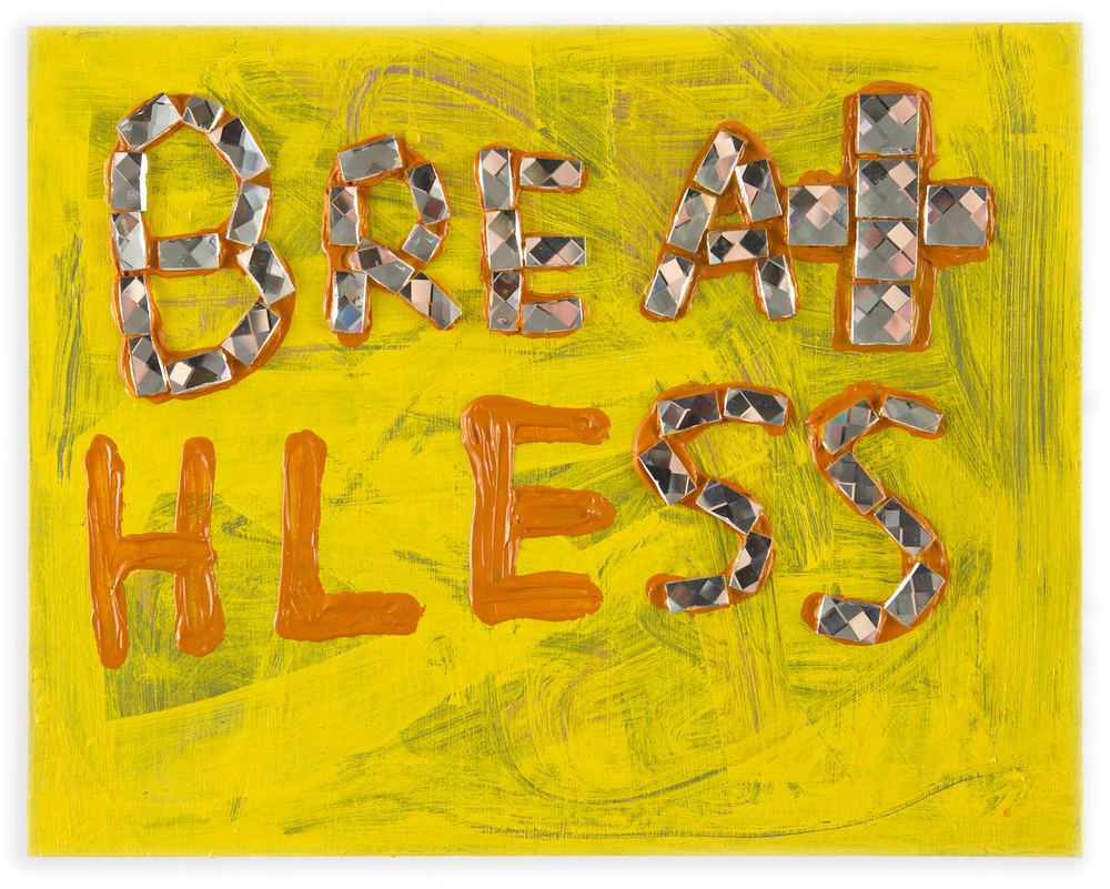 Breathless , 2014, acrylic and glass tile on wood, 14 x 11 in
