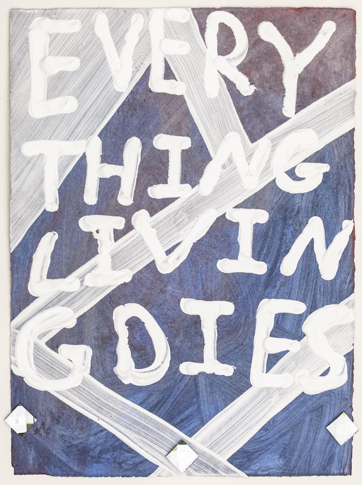 Everything Living Dies , 2015, acrylic and glass tile on paper, 15 x 11 in