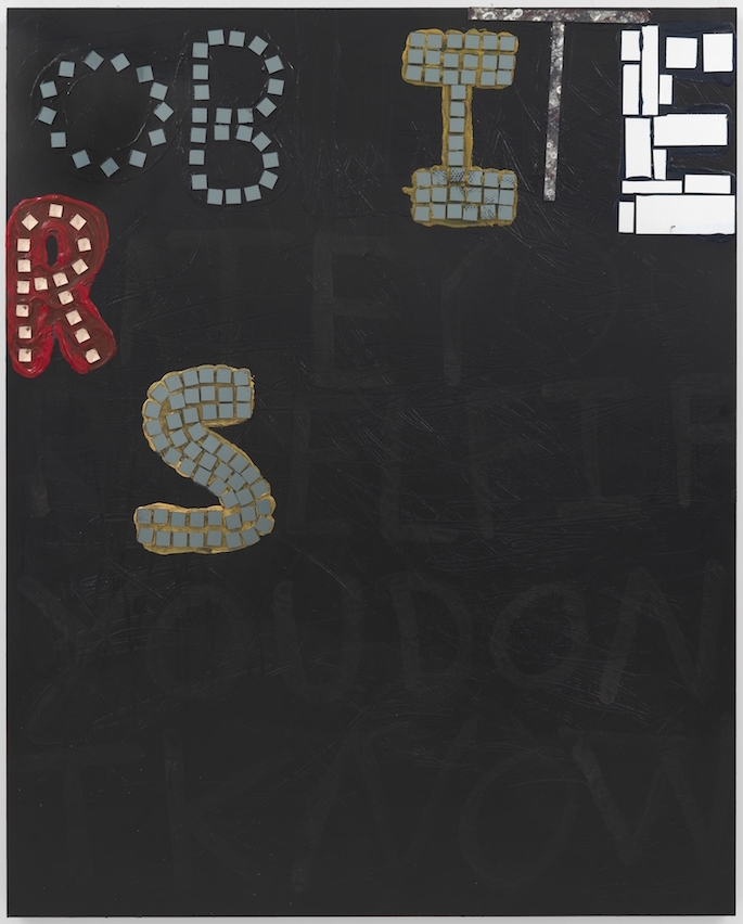 If you don't know, now you know ,2015, acrylic, mirror and glass tile on wood, 60 x 48 in
