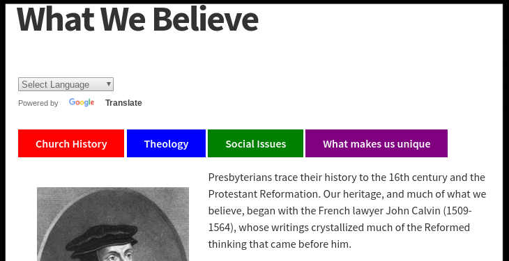 Click to visit the Presbyterian Mission Agency's: History, Theology, Social Issues, and Uniqueness