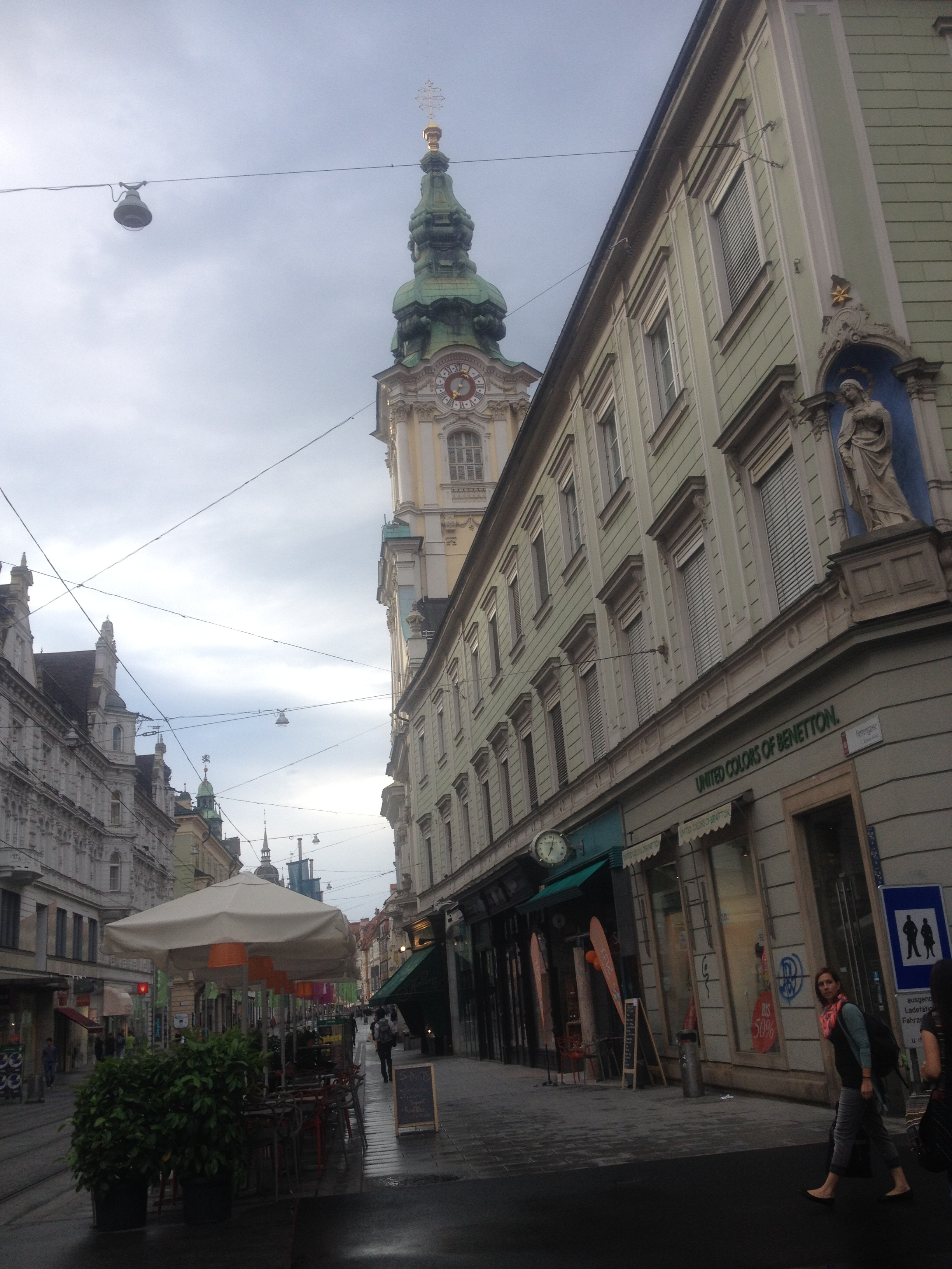 Walking down Herrengasse into the Hauptplatz