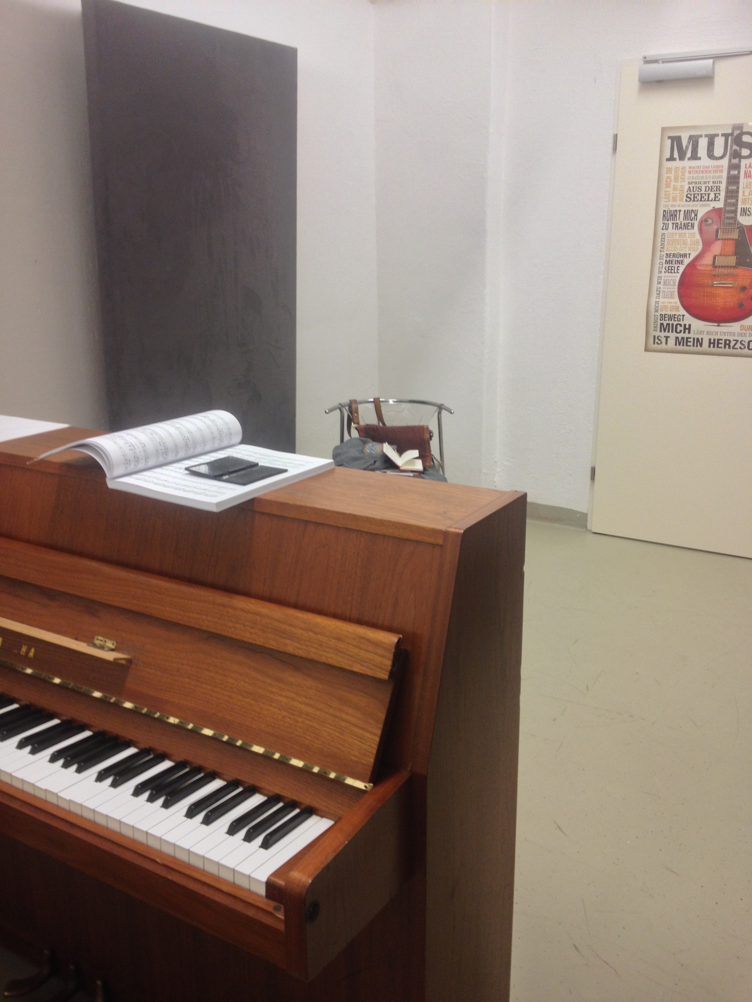 In case anyone was wondering what our practice rooms are like: they're in the basement.
