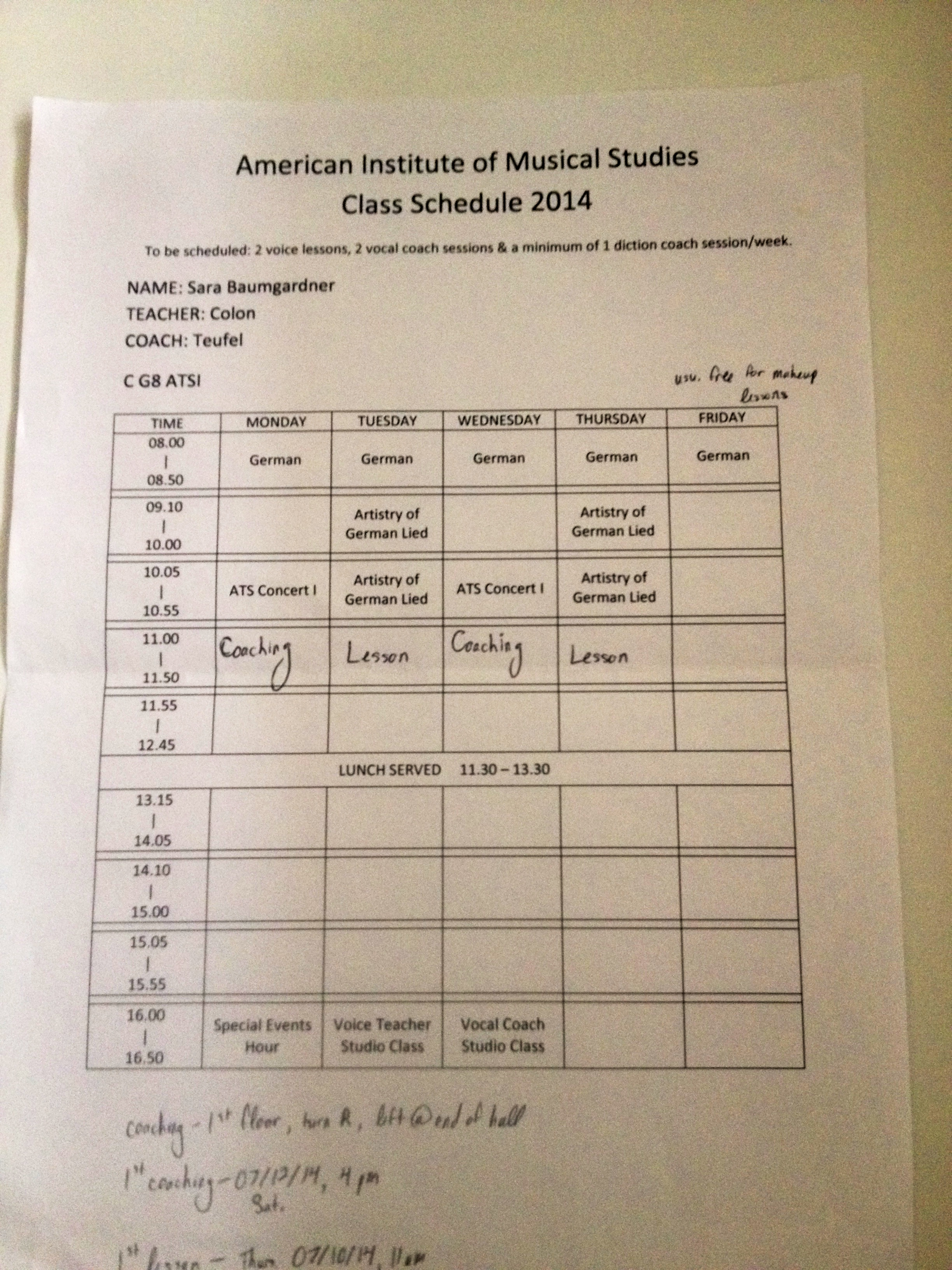 My schedule!
