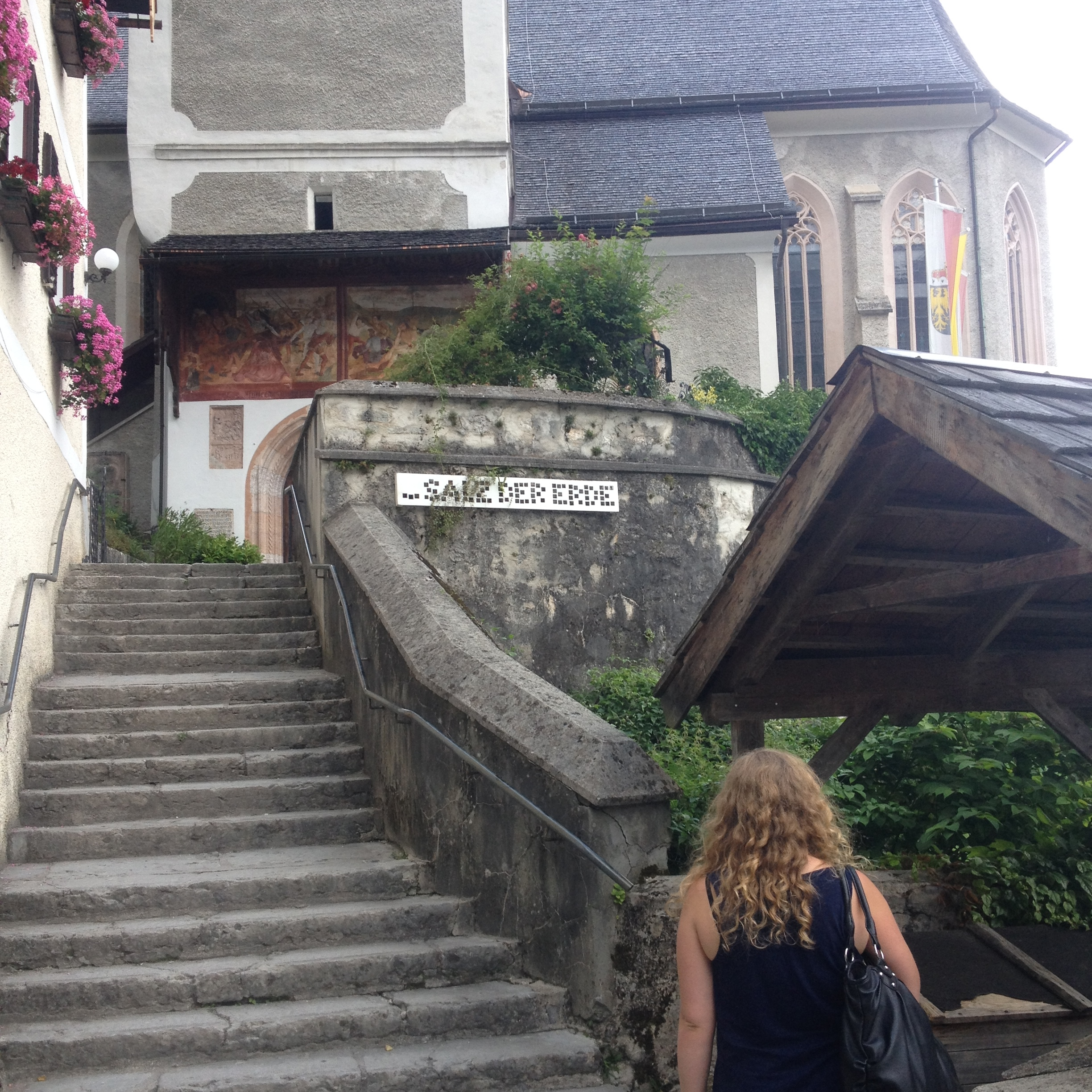 "Bonus photo: the stairs to the Catholic church. ""Salz der Erde"" means ""Salt of the Earth."" Don't you love that?"