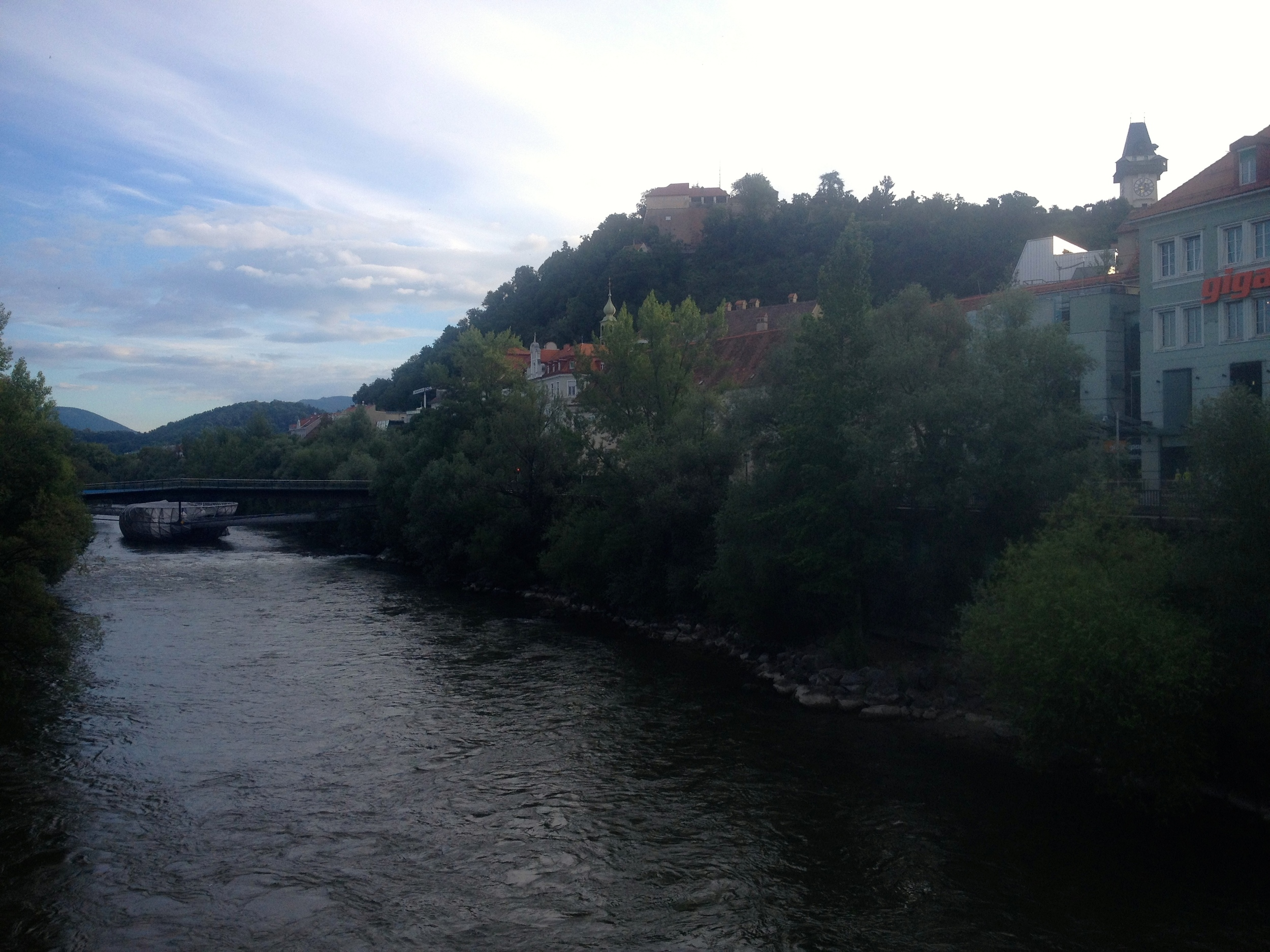 From one of the bridges: a view of the Schloßberg.