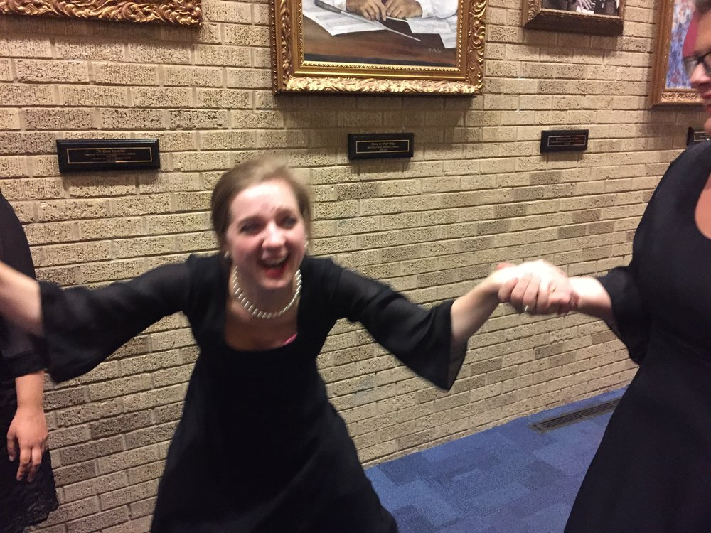 This two-year-old photo of post-concert shenanigans.
