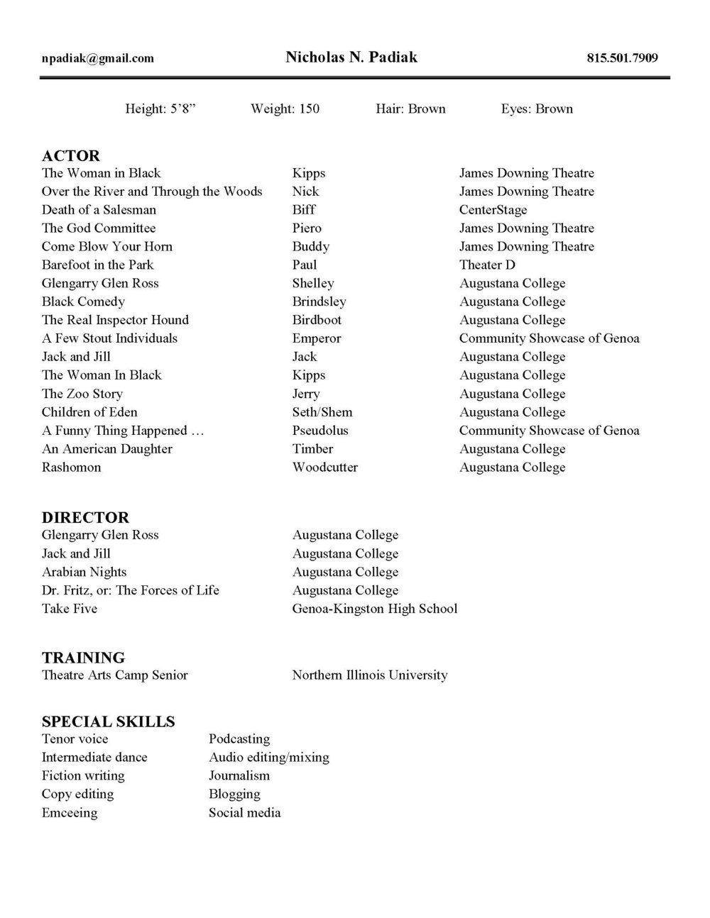 Acting resume--click to expand