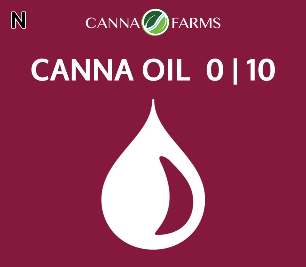 CANNA OIL 0 | 10 THC = <0.5 mg/mL |  CBD = 10.4 mg/mL 25 mL Bottles = $60 |50 mL Bottles = $110