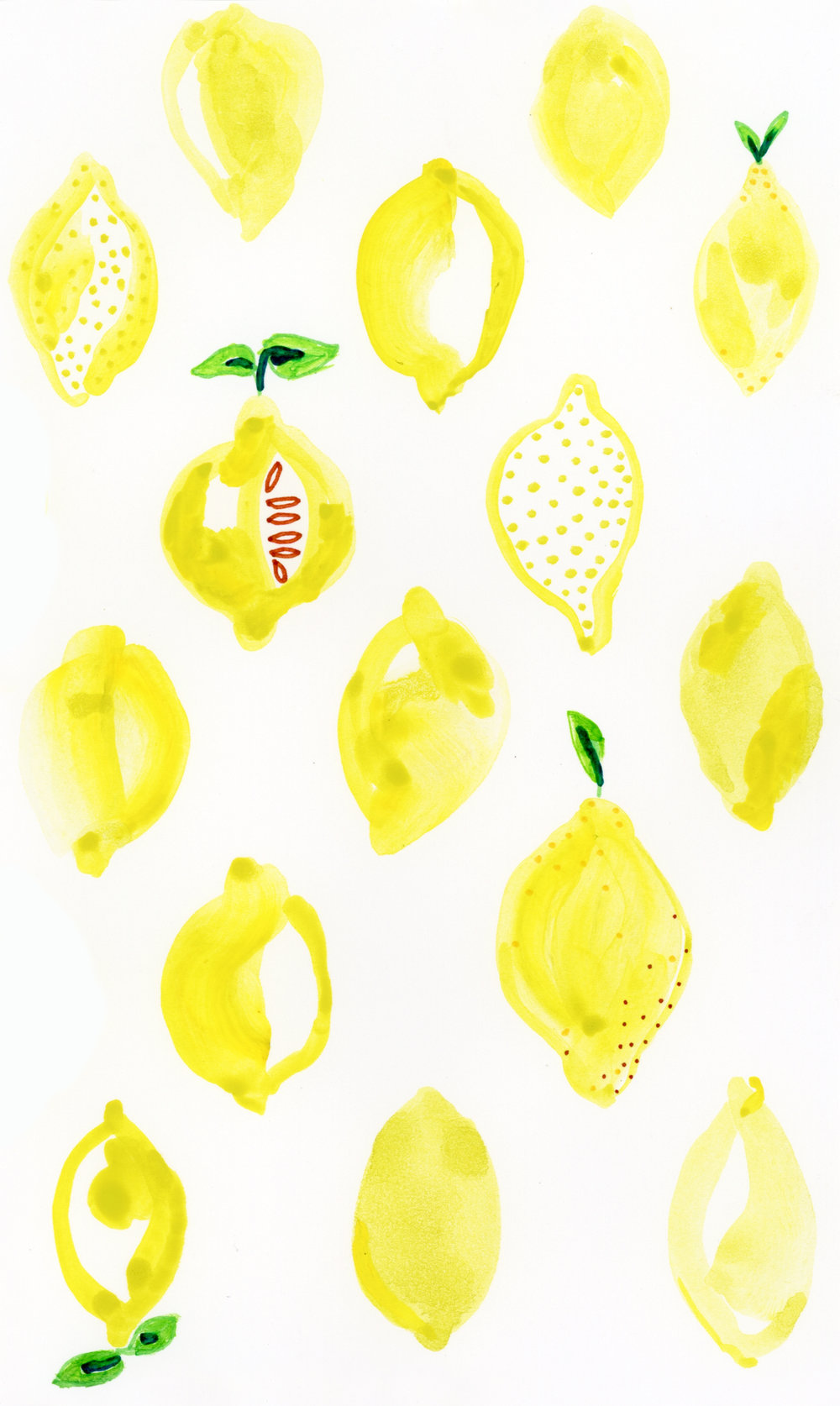 Quirky Lemons , watercolor and pen on paper