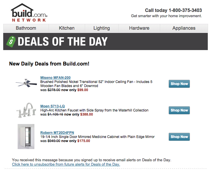 Build.com Daily Deal Alerts