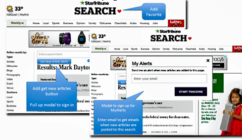 Readers can Favorite or Opt-in to White Label Alerts at multiple areas of a news site