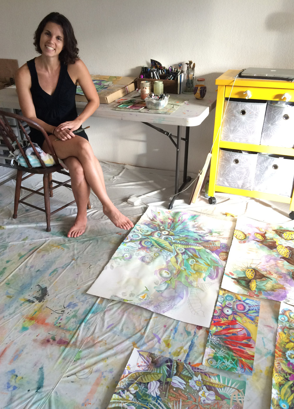 my studio is simple. I find I can create really anywhere, it comes from within, no from without.