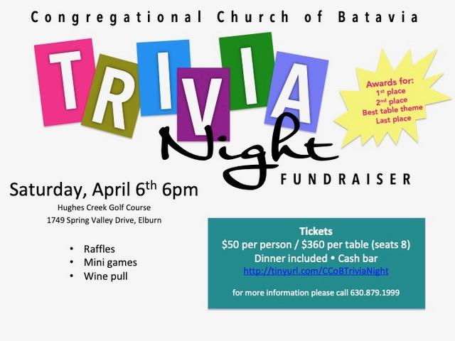 You can purchase tickets at coffee time or through this link:  http://tinyurl.com/CCoBTriviaNight