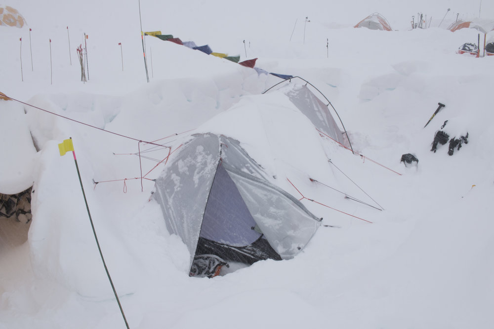 Camp 3 @ 14,200' after a heavy snowfall.