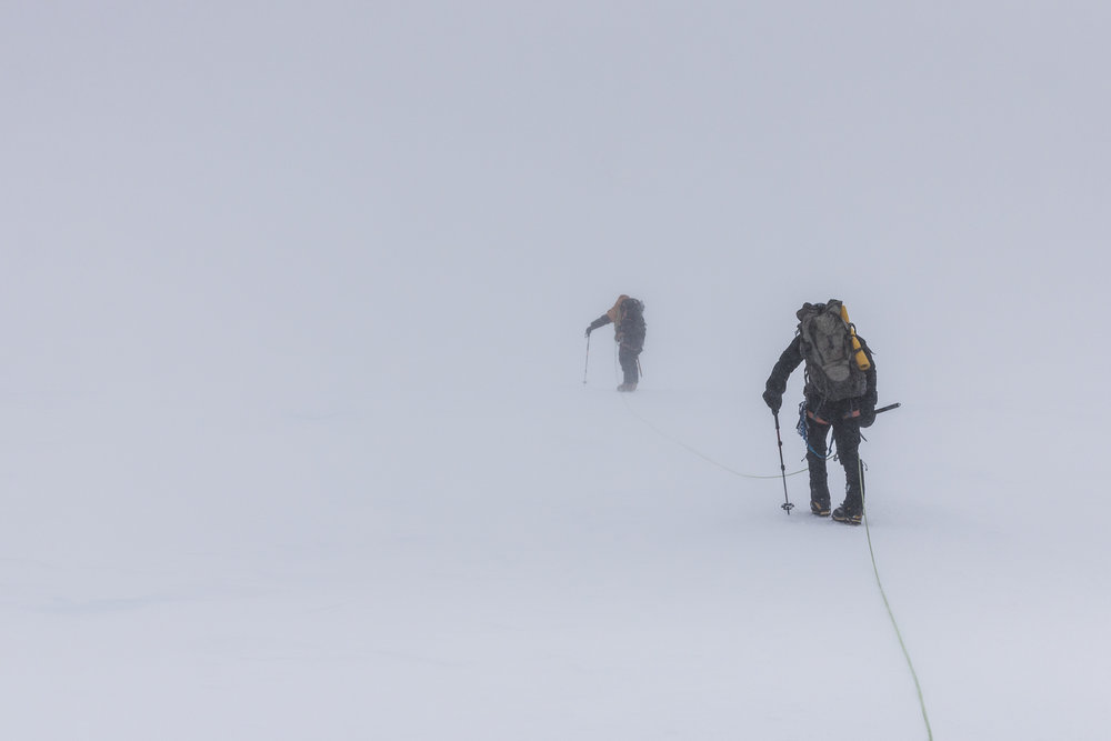 Whiteout conditions at the base of Pig Hill.