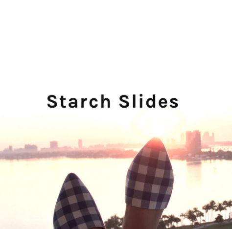 Starch Slides    Why we love them...  Starch Slides helps solve the issue of waste in our landfills by creating slides upcycled from unwanted buttonn up shirts.  The shirt is taken and lined with vegan leather to protect the fabric and keep your foot secure and supported.  The sole is made of eco-friendly materials that make the slide comfortable and durable.