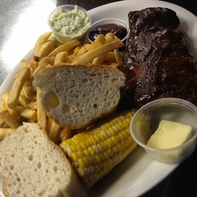 Half slab 3/4 pounds #ribs #corn #bread #butter #coleslaw #fries #motherhubbards #chicago #il #sport #pub