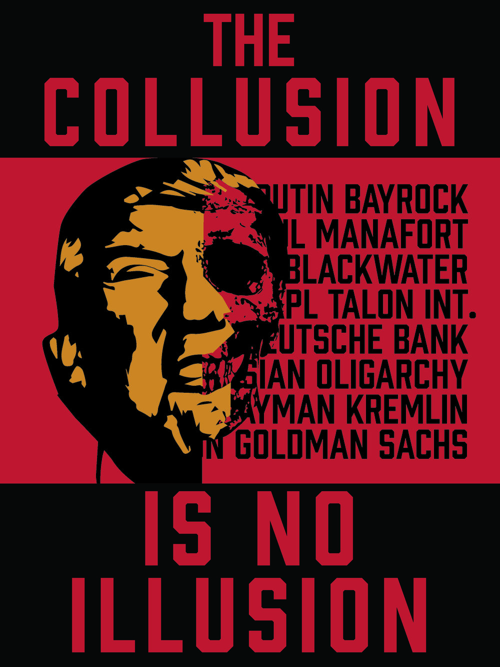 Tell your friends about the  Collusion  of the corporate hegemony with this protest poster!