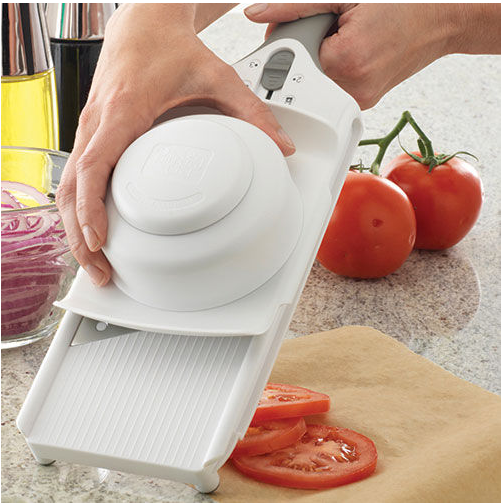 Simple slicer - shown here slicing tomatoes, but this is what I use in this recipe, and in many of my other recipes - I love it! And it's dishwasher safe :)