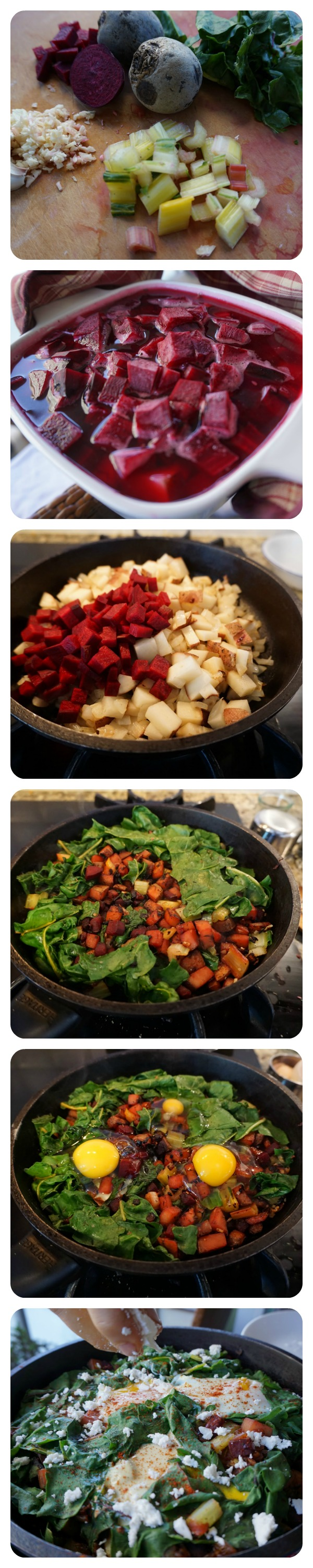 1. chop  2. The beets and potatoes cook quickly in the microwave  3/4. Sautee the veggies and add greens  5. Waiting for the eggs to bake to finish the dish  6. Finishing our hash with a light sprinkling of feta cheese!