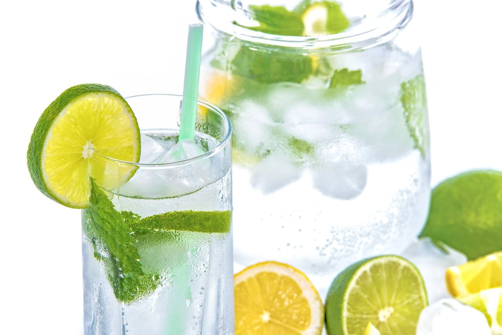 Add flavour to water with fruit and mint