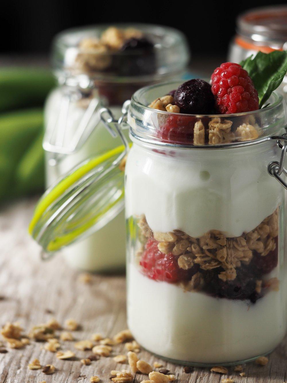 Fruit Fresh Berries Glass Parfait Yogurt Nuts