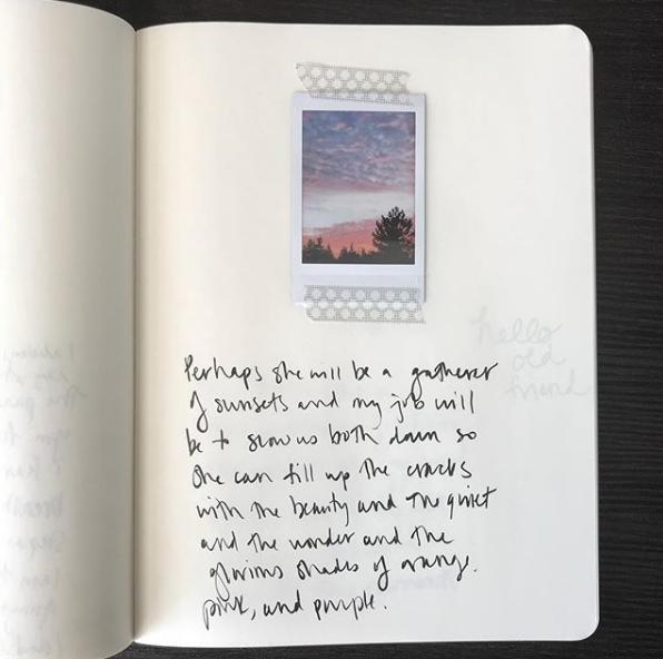 sunset art journaling page