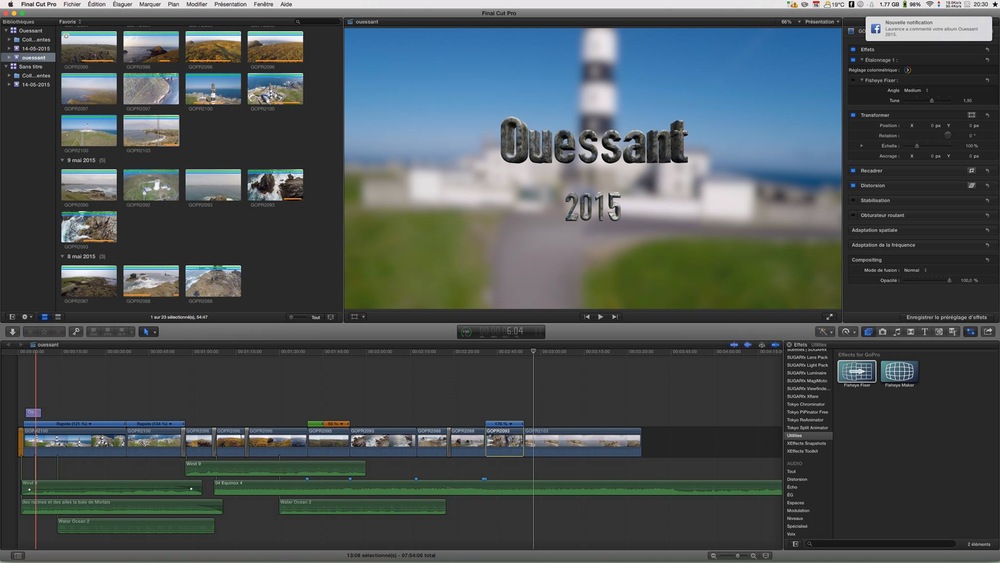 Montage de mes films sous Final Cut Pro