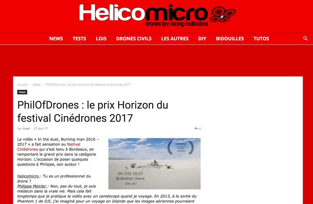 Interview - J'ai été interviewé par Fred Botton pour le site de référence Hélicomicro à propos de ma vidéo primée au festival Cinedrone et du festival Burning Man.L'article est en lien ici.