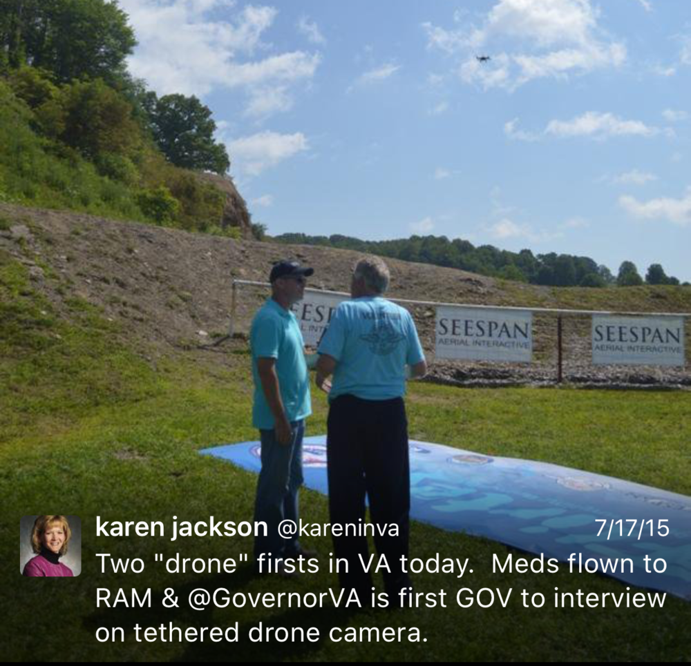 071715 VA Secy Karen Jackson Tweets First Governor Interviewed Tethered Drone Camera.PNG