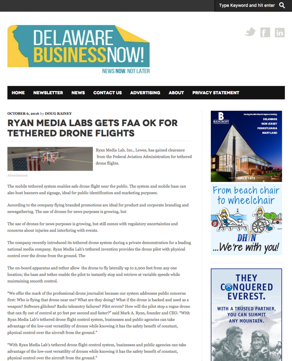 "- Ryan Media Labs gets FAA OK for tethered drone flights — ""We offer the mark of the professional drone journalist because our system addresses public concerns first."""