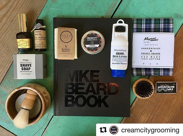Need an awesome #fathers day gift? Stop by @thewaxwing and grab a #mkebeardbook!! Or you can be extra special and make a gift bag with some of these other amazing products!! 😍 $5 from each book sale benefits No Shave November ! @creamcitygrooming . . . . #beards #dadswithbeards #fathersday #fathersdaygifts #shoplocal #milwaukee #milwaukeebeard #local #noshavenovember #menwithbeards #photography #beardphotography