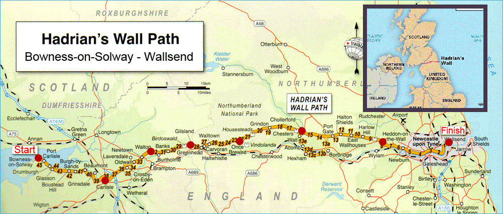 Hadrian\'s Wall Map Hadrian's Wall — TrailnameBackstroke Hadrian\'s Wall Map