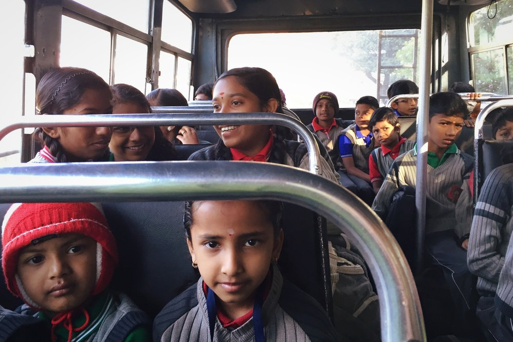 On the school bus in Munnar, India.