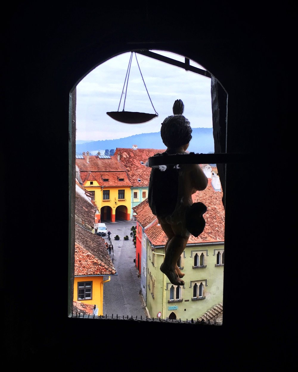 Within the clock tower in Sighisoara, Romania.