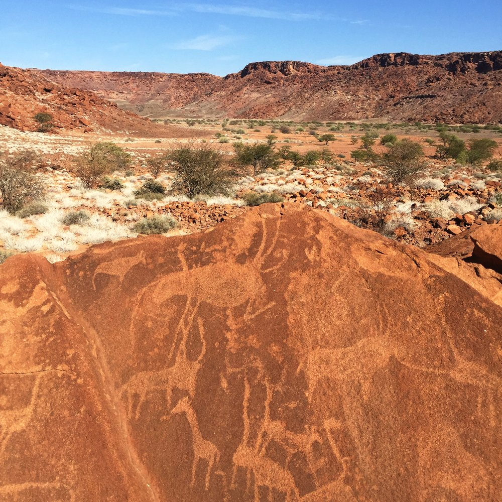 Rock engravings - the original chalkboard - from at least 4,000 BC, at Twyfelfontein, Namibia