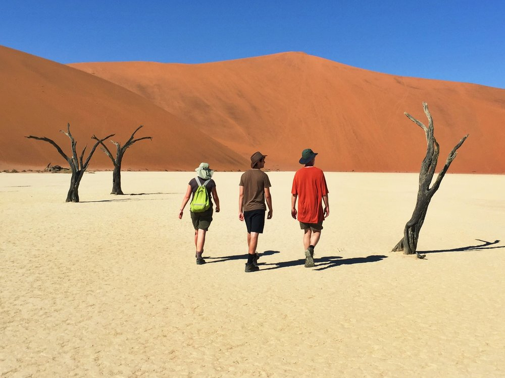 On parched earth in Deadvlei, Namibia.