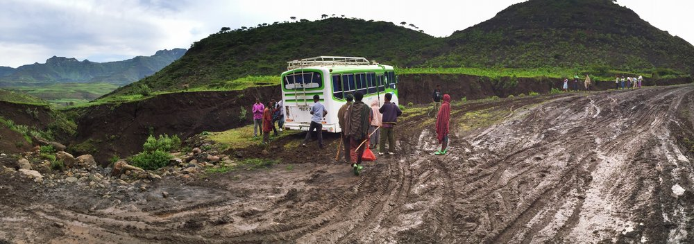 Stuck in the mud on our way out of Lalibela