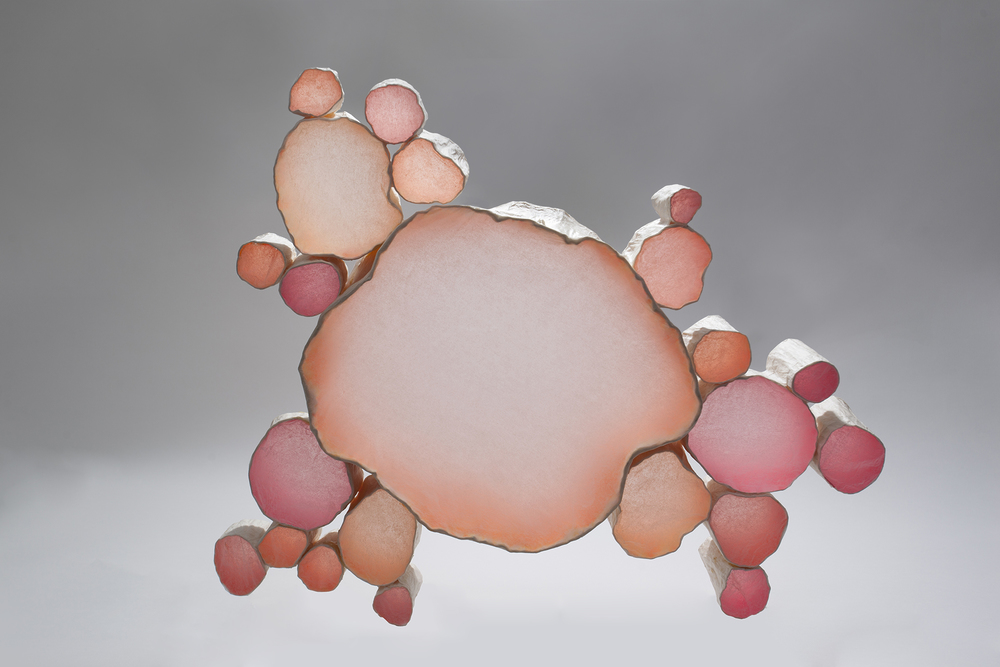 Mary Button Durell, Neon Cluster, Tracing Paper & Acrylic, 2012