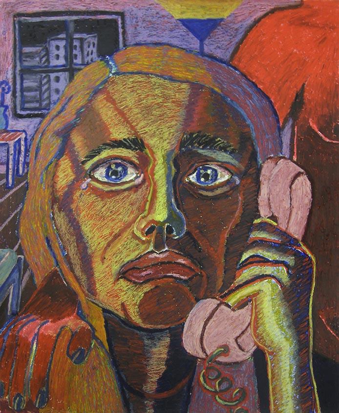 Bruna Massadas, Angela Gets Pouty, 2016, Oil pastel on paper, 17 x 14 inches