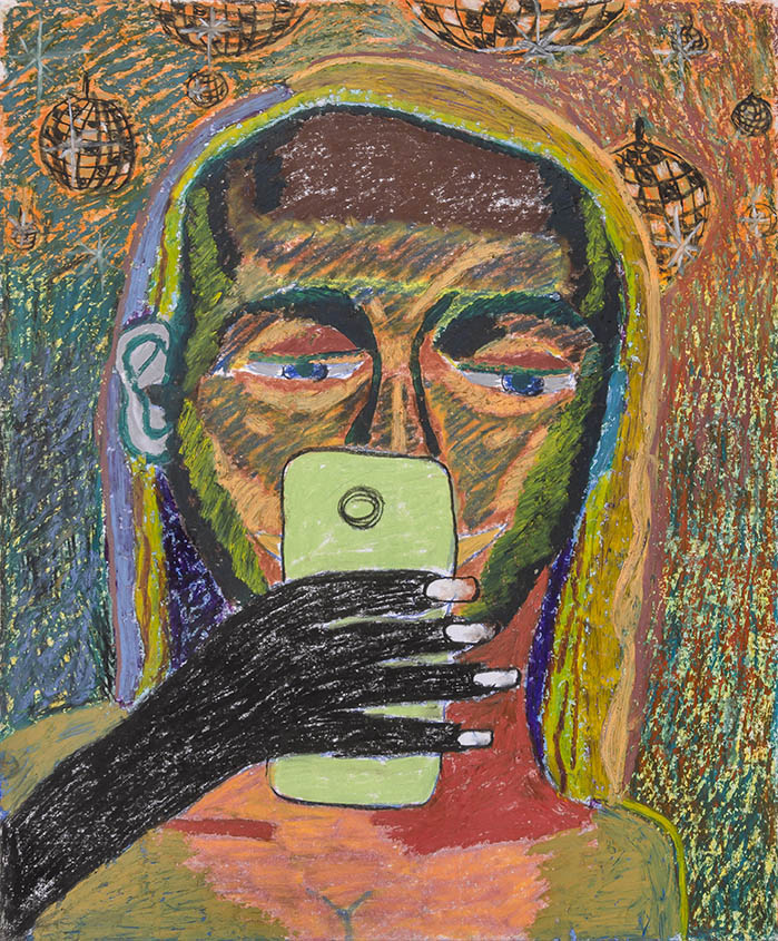 Bruna Massadas, Kim Texting in the Club, 2015, Soft pastel & oil pastel on paper, 17 x 14 inches