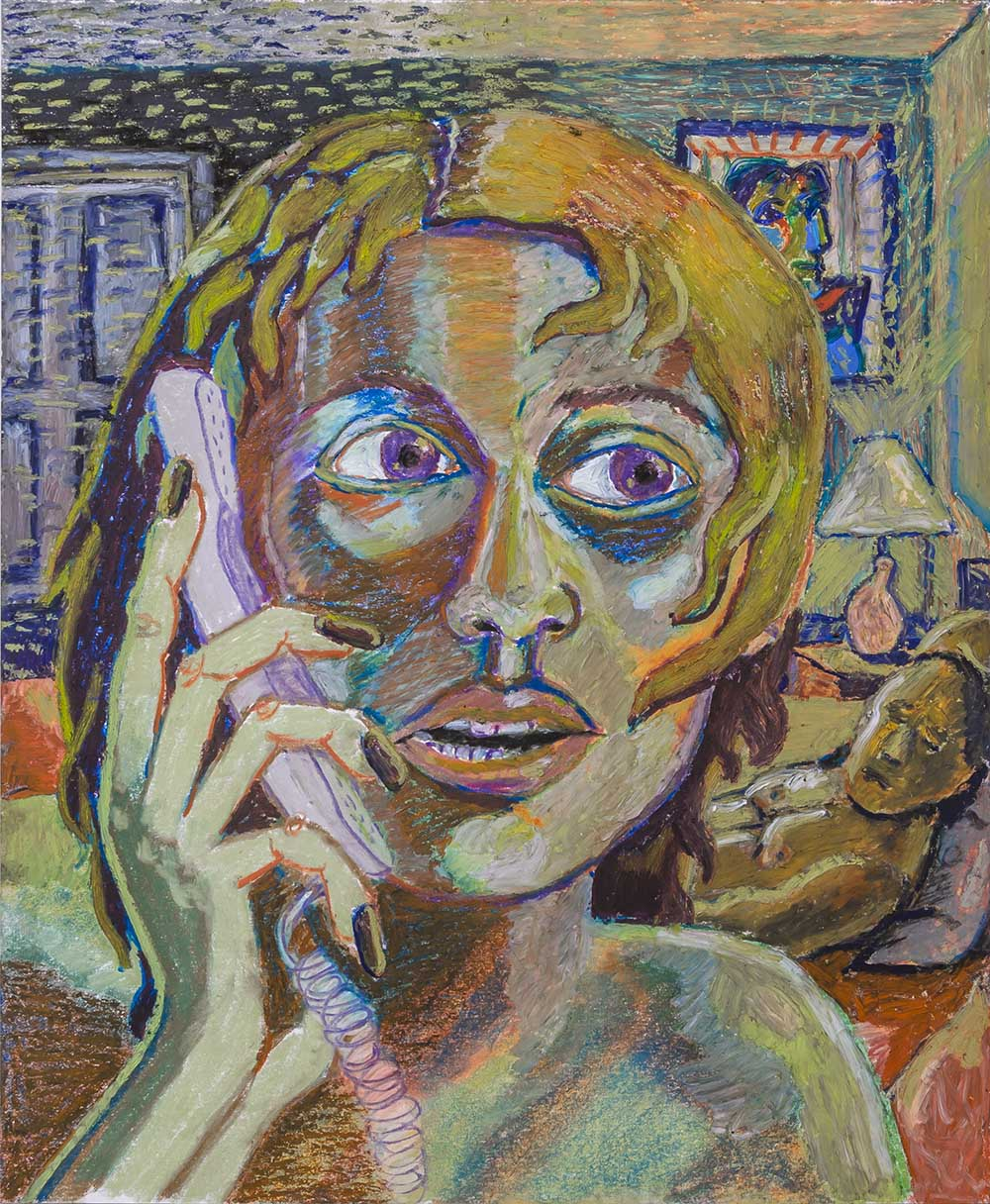 "Bruna Massadas, Regina Says ""I Love You, Too"", 2015, Soft pastel & oil pastel on paper, 17 x 14 inches"