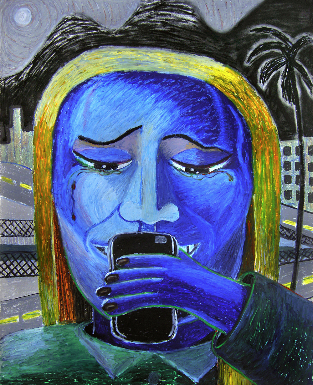 Bruna Massadas, Alma Looks for Directions in San Gabriel Valley, 2017, Soft Pastel & oil pastel on panel, 30 x 24 inches