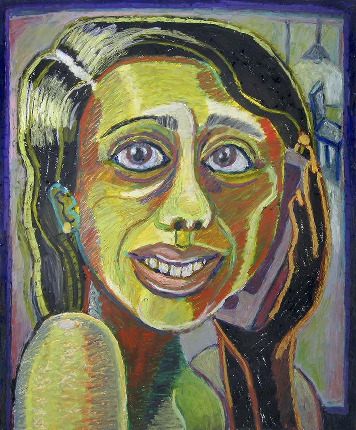 Bruna Massadas, Terri is Interrogated, 2015, Oil pastel on paper, 17 x 14 inches