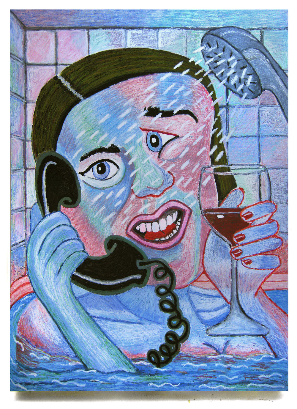 Bruna Massadas, Big Angie is Drunk-Dialing Again, 2016, Acrylic and oil pastel on panel, 48 x 36 inches