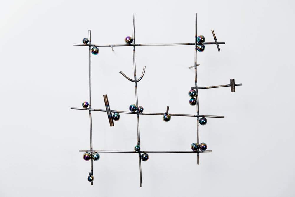 Sean Talley, qui3tFarm23, 2017, Steel and magnets, 20 x 20 x 5 inches