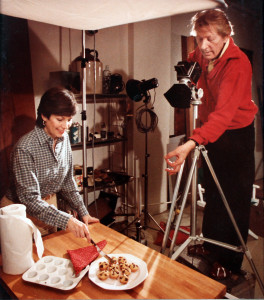 Actor Danny Kaye has some fun with Marlene on a cookbook photo shoot.